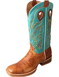 Twisted X Mens Turquoise Ruff Stock Cowboy Boot Square Toe - Mrs0046