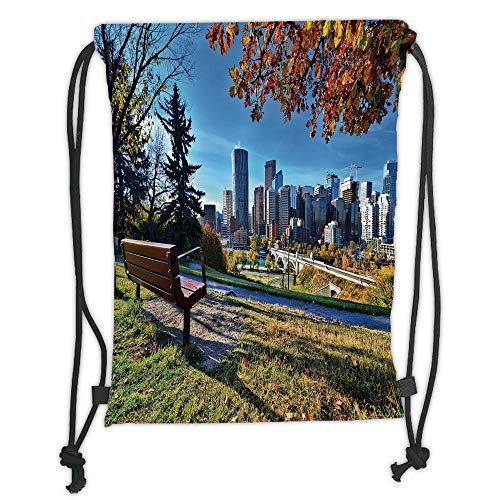 - Custom Printed Drawstring Sack Backpacks Bags,City,Park Bench Overlooking the Skyline of Calgary Alberta During Autumn Tranquil Urban,Multicolor Soft Satin,5 Liter Capacity,Adjustable String Closure,T