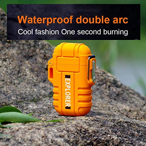 Waterproof Lighter by Novelty Wares-Dual Arc Double Arc Plasma USB Lighter Rechargeable Flameless Stormproof Windproof Mini Electric Lighter for Cigar Candle Cigarette Pipe Sport Outdoor (Orange) (Novelty Cigar Lighter)
