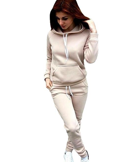 6cca65374a86 Sentao Abbigliamento Sportivo Felpa Donna Autunno Maglie a Manica Lunga  Pantaloni Tute da Ginnastica Abbigliamento Sportivo