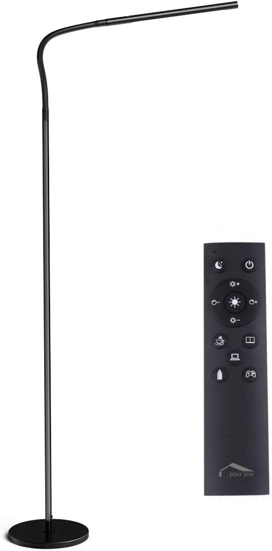 Joly Joy Floor Lamps for Living Room, 12W Dimmable Flexible Gooseneck Standing Lamp, Reading Light with Touch Remote Control, 4 Color 5 Brightness Dimmer, LED Floor Lights for Bedroom, Chair, Couch