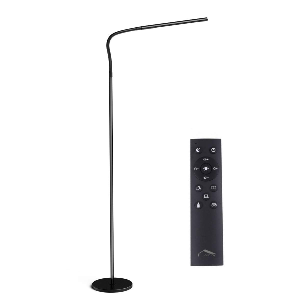 Joly Joly Floor lamp, 12W Dimmable LED Modern Standing Lamp with Touch & Remote Control, Flexible Gooseneck Reading Lamp for Home, Living Room, Office, Desk