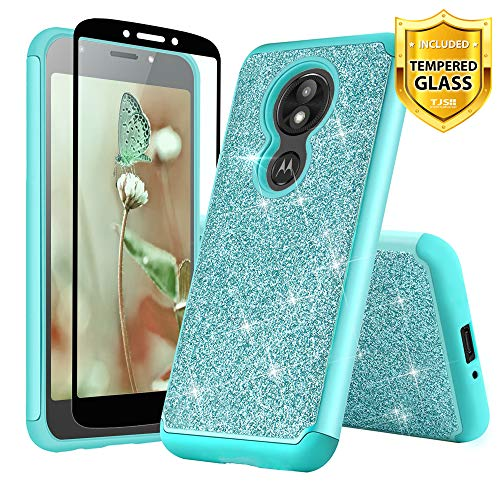 TJS Motorola Moto E5 Plus / E5 Supra/E Plus 5th Gen Case, with [Full Coverage Tempered Glass Screen Protector] Glitter Bling Cute Girls Women Design Dual Layer Heavy Duty Hybrid Phone Case (Teal)