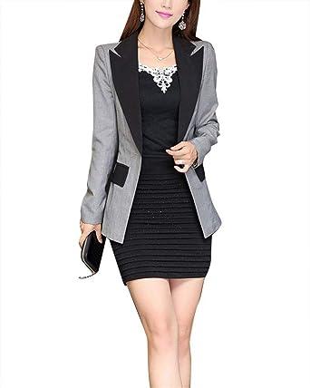 Americana Mujer Otoño Slim Fit Negocios Camisa Botonadura Chaqueta Modernas Casual Color De Contraste De Solapa Manga Larga Hipster Outerwear: Amazon.es: Ropa y accesorios