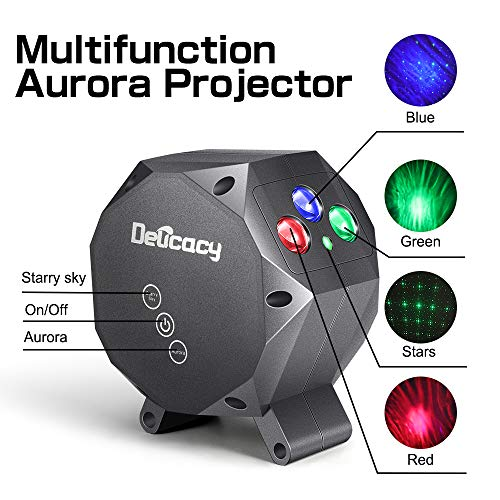 Star Projector,Delicacy Galaxy Projector Aurora Light Starry Sky Night Light Projector,Bluetooth Music Speaker with Rotating LED Night Light for Home Theater Kids Adults Room Decoration