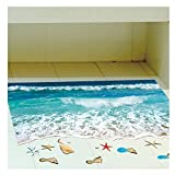 SODIAL(R) 1pcs 3D HD Beach Wave Removable Wall Floor Sticker Home Decal Mural Living Room Décor