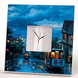 San Francisco Drawn View Wall Clock Framed Mirror Printed Decor Travel Fan Art Home Room Design Gift
