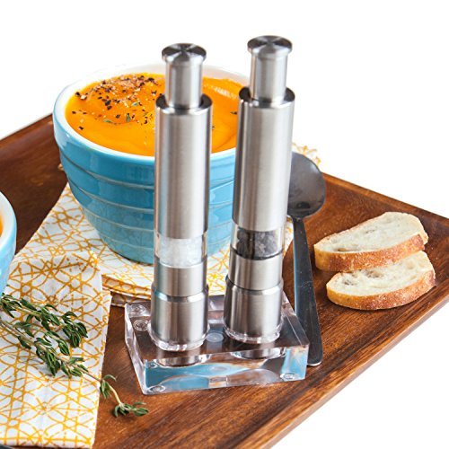 Eparé Steel Salt and Pepper Grinder Set- Premium Stainless Mills with Stand for Spice