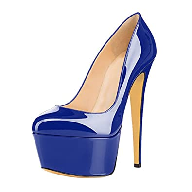 Damen Geschlossene Toe Glitzer Lack Pumps High-Heels Stiletto mit Plateau