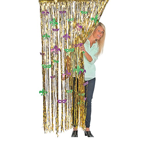 Fun Express - Cello Mardi Gras Fringe Curtain for Mardi Gras - Party Decor - Door Decor - Door Borders & Curtains - Mardi Gras - 1 Piece ()