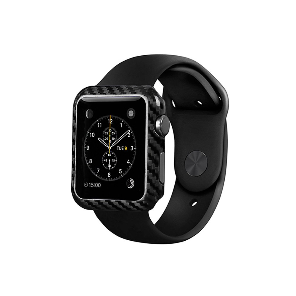 100% Genuine Carbon Fiber Case For Apple Watch Series 2-38/42mm,Ultra Thin - High-Gloss - Twill Weave Finish,Stylish Protection for apple watch-Black