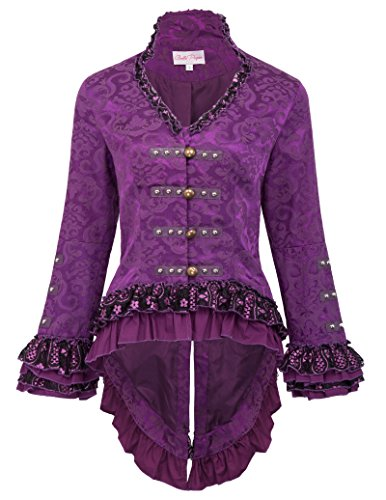 Victorian Steampunk Tail Jacket with Back Lacing for Party Purple 2XL