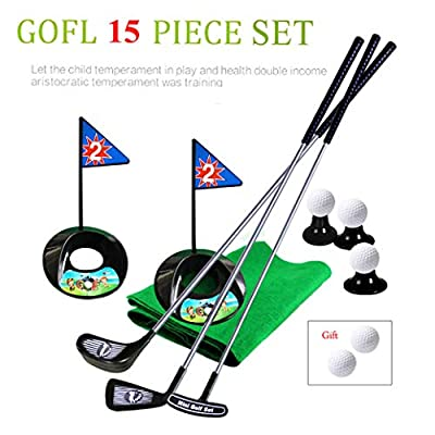 Large Children Golf Toy Set Training Clubs Practice Ball Flag Green Long Mat Simulation Indoor Outdoor Golfer Game for Toddler Kids: Clothing