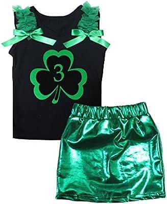 Petitebella 3rd Clover Black Cotton Shirt Green Bling Skirt Set 1-8y