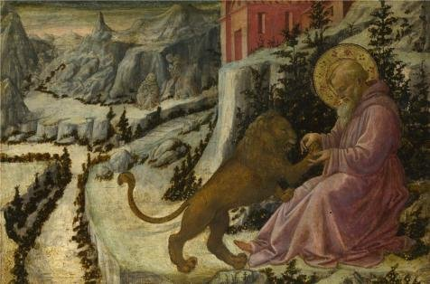 'Fra Filippo Lippi and workshop - Saint Jerome and the Lion - Predella Panel,1455-60' oil painting, 18x27 inch / 46x69 cm ,printed on high quality polyster Canvas ,this High quality (Lion Costume Tutorial)