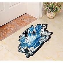 "Ikeelife® Home Decorative Mural Vinyl Waterproof Sharks Jumping Floor Wall Sticker Cute Kids Nursery Children Bedroom Kindergarten Bathroom Wall Art Decal Paper 60*90cm / 23.64*35.46"""