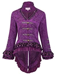 Belle Poque Womens Gothic Steampunk Tail Jacket Coat with Back Lacing