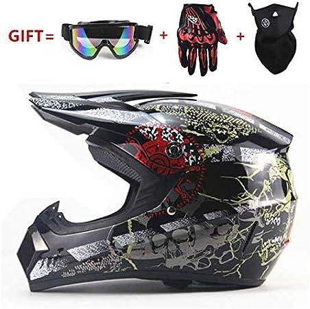 CPDZ Motorradhelm Full Face Motocross Off-Road Racing Helm Outdoor Dirt Bike Helme Vier Jahreszeiten Universal Mit Handschuhe Schutzbrille Maske