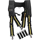 Melo Tough Tool Belt Suspenders Padded Suspenders with movable phone holder Tape Holder Pencil holderFlexible Adjustable Straps suspenders Loop Attachments for carpenter electrician work Suspension Rig