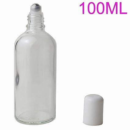 Botella enrollable de cristal vacío transparente de 100 ml con bolas de acero inoxidable para bálsamos