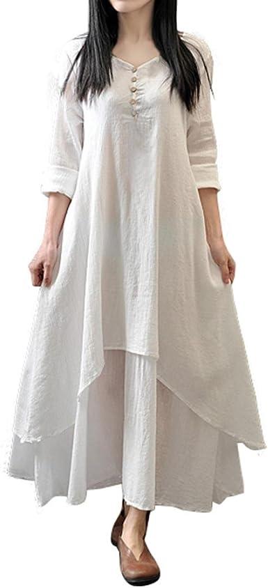 Dragon868 Vestidos de Invierno, Mujeres Sueltas de algodón Suelto ...