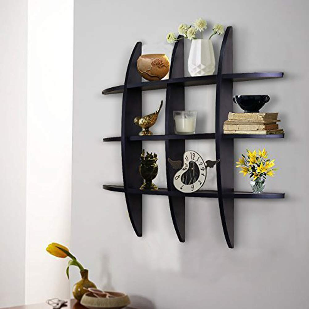 SHELVING SOLUTION Cross Display Wall Shelf (Black)