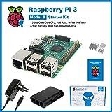 SainSmart Raspberry Pi 3 Starter Kit QUAD Core 1.2 GHz 1 GB RAM with Black Case + 3x Heatsink + Power Supply + Tutorials - (2016 Model)