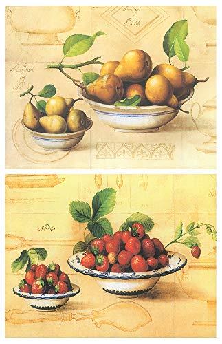 Cuadro de cocina fruteros. Set de 2 Unidades de 19 cm x 25 cm x 4 mm unid Adhesivo FÁCIL COLGADO. Adorno decorativo…