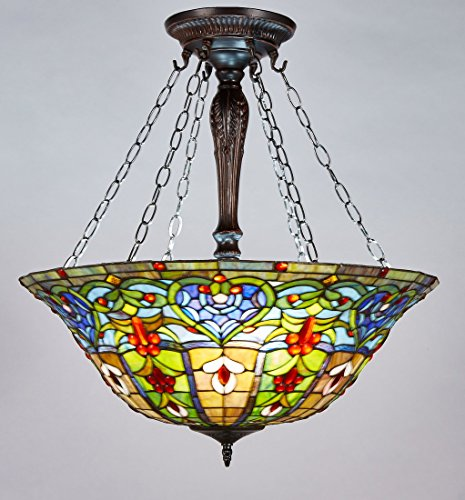 New Legend Tiffany Style Stained Glass Victorian 3-Light Inverted Large Hanging Lamp Ceiling Fixture TL16015, 24-Inch wide (Pendant Lamp Tiffany Large)