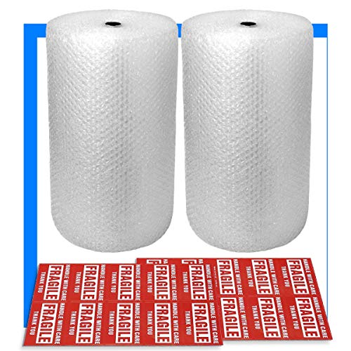 """2-Pack Bubble Cushioning Wrap Rolls, 3/16"""" x 12"""" x 72' ft Total, Perforated Every 12"""", 20 Fragile Stickers for Packaging, Shipping, Mailing from Pacific Mailer"""