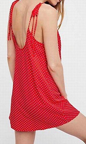 Domple Sangle Femmes Manches Dos Nu V-cou Été À Pois Mini Robe Rouge