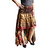Mogul Interior Womens Alexa Gypsy Fairy Skirt Hi Low Recycled Sari Free Falling Twirling Ruffle Skirts