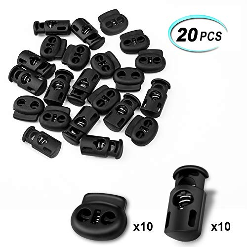 Double Drawstring - CousDUoBe 20 Pcs Plastic Cord Locks End Spring Stopper,Suit for Drawstrings, Bags, Shoelaces, Clothing, More (10 Double-Hole, 10 Single-Hole, Black)