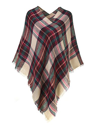 Plaid Poncho (Ferand Lightweight Knitted Plaid Pullover Poncho Shawl For Women, Khaki & Burgundy)