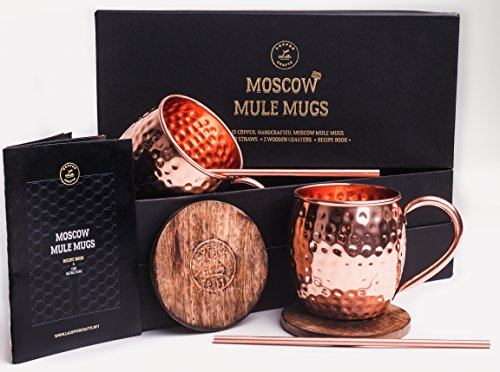 t Set, 2 Authentic Handcrafted Copper Mugs (16 oz.), 2 Straws, 2 Solid Wood Coasters and Recipe Book ()