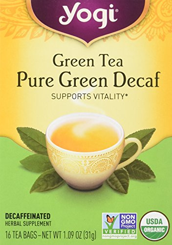 Yogi Tea, Pure Green Tea, Decaf, 16 Count (Pack of 6), Packaging May Vary