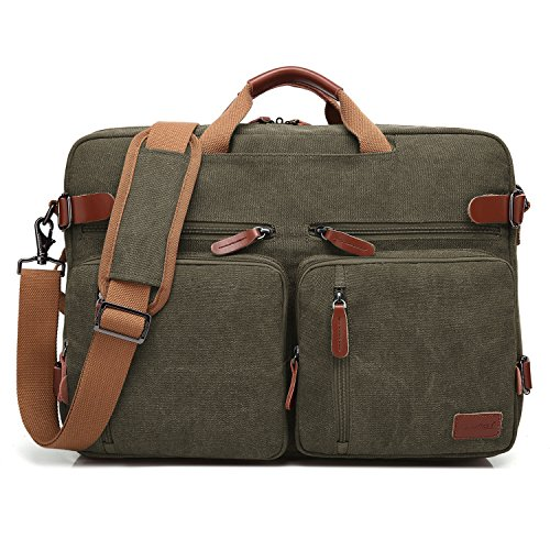 Ladies Briefcase Green (CoolBELL Convertible Backpack Messenger Bag Shoulder bag Laptop Case Handbag Business Briefcase Multi-functional Travel Rucksack Fits 17.3 Inch Laptop For Men / Women (Canvas Green))