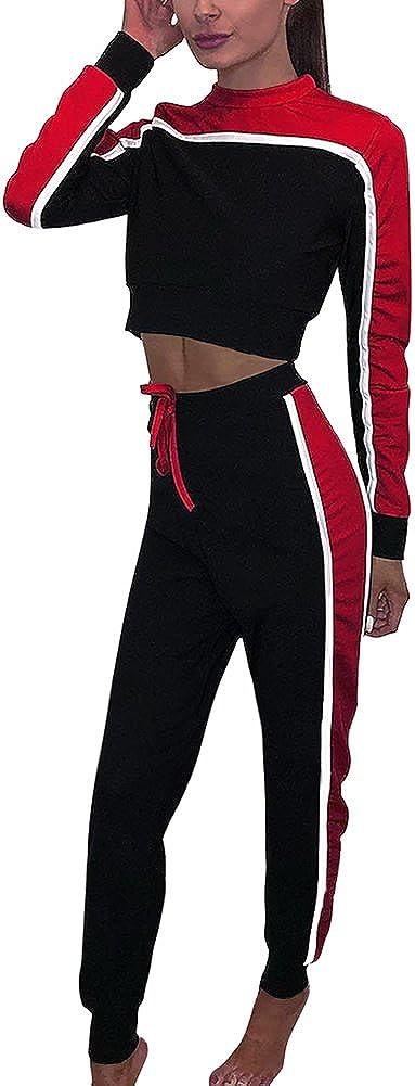Tomwell Donna 2 Pezzi A Righe Manica Lunga Tuta da Ginnastica Jogging Sportiva Pullover Felpa Top E Pantaloni