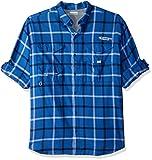 Cheap Columbia Men's Bonehead Flannel Long Sleeve Shirt, Vivid Blue Plaid, Large