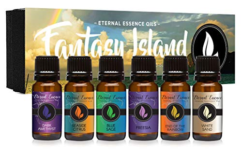 - Fantasy Island - Gift Set of 6 Premium Fragrance Oils - Freesia, Dark Amethyst, Blue Sage, End of The Rainbow, White Sand, Seaside Citrus - Eternal Essence Oils