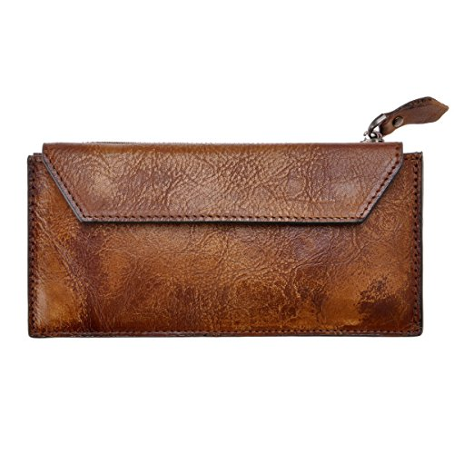 ZLYC Handmade Dip Dye Leather Long Card Organizer Wallet with Removable Card Holder, Brown