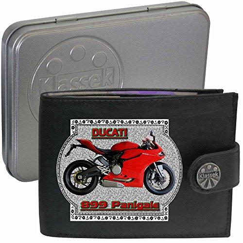 Ducati 899 Panigale Motorrad Zubehör Bike Klassek Herren Geldbörse Portemonnaie Brieftasche aus echtem Leder schwarz