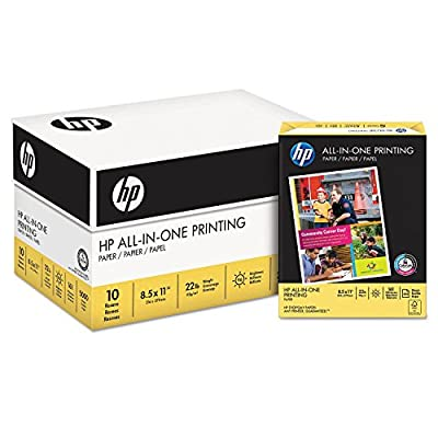 HP All-In-One Printing Paper, 22lb, 96 Bright, 8 1/2 x 11, White, 500 Sheets/Ream (Pack 5)