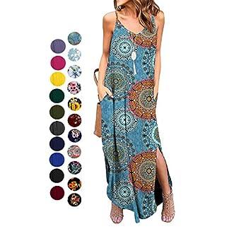 Kyerivs Women's Summer Casual Loose Dress Sleeveless Beach Cover Up Sundresses Long Maxi Dresses with Pocket