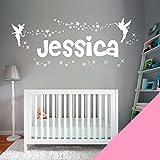 Personalised Name Girls Wall Art Sticker - Fairies Fairy Tinkerbell Stars [Pink]