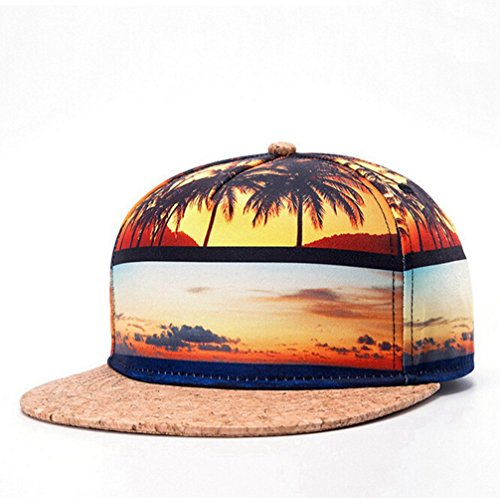 KitMax (TM) Fashion Unisex Personalized Tropical Beach Thermal Transfer Hip Hop Outdoor Sport Baseball Snapback Sun Caps - Tropical Hat