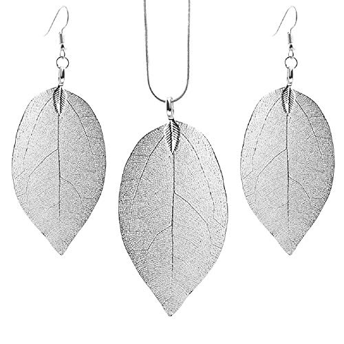 (Unique Long Real Natural Filigree Leaf Pendant Necklace Dangle Drop Earrings Handmade Jewelry Set-Silver)