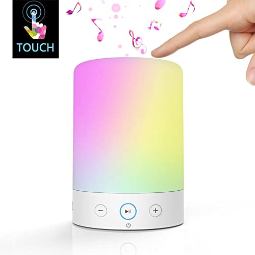 LIGHTSTORY Bedside Lamp Touch Sensor, Dimmable RGB Color Changing White Table LED Lamp, Portable Wireless Night Light with Bluetooth Speaker