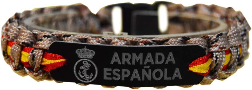 Pulsera Paracord Armada Española. Placa de Aluminio grabada a láser. Medida 19 x 1.5 cm (Sin Contar Cierre).: Amazon.es: Deportes y aire libre