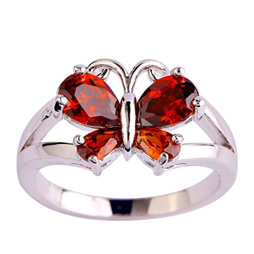 Created Garnet Stainless Steel Ring - Lingmei 6mm4mm Women's Butterfly Shaped Pear Cut Created Garnet Red Stone Silver Plated Ring US Size (11)